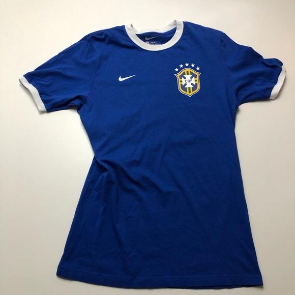 Nike CBF Brazil Soccer T-shirt Blue Slim Fit Large